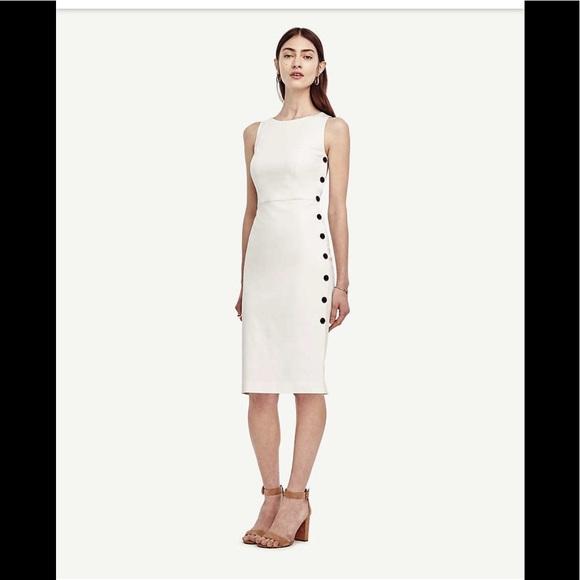 Ann Taylor Dresses & Skirts - Ann Taylor white side button sleeveless dress 0
